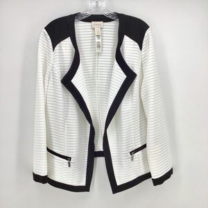 Chicos black white open jacket blazer medium 12